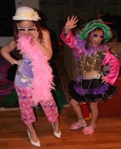 Girls playing dress-up