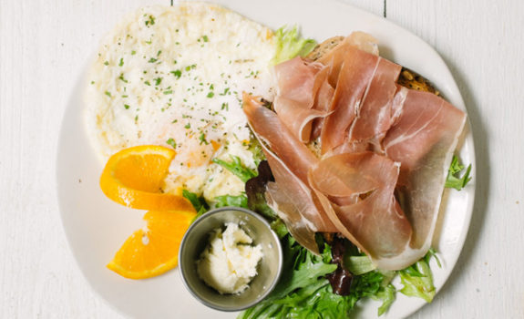 Modern Market proscuitto-and-eggs plate