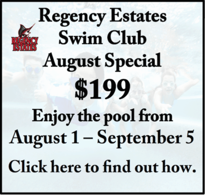 2016 Regency Estates Swim Club August Special ad