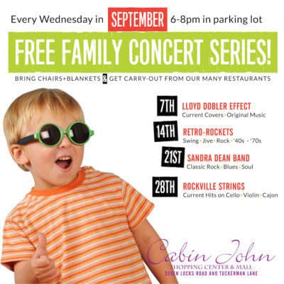 Cabin John Family Concert Series: http://www.shopcabinjohn.com/events/