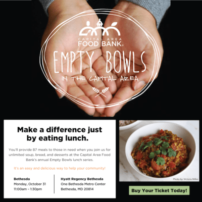 Empty Bowls Bethesda event: https://www.capitalareafoodbank.org/empty-bowls/