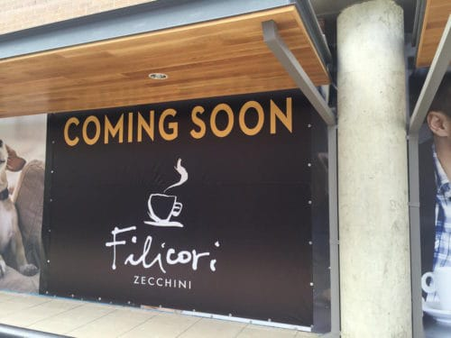 "Filicori Zecchini ""Coming Soon"" sign at Park Potomac"