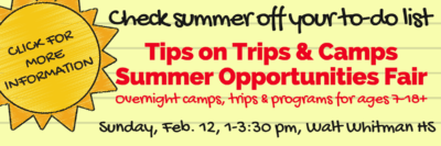 Tips on Trips & Camps Summer Opportunities Fair: https://tipsontripsandcamps.com/dc/