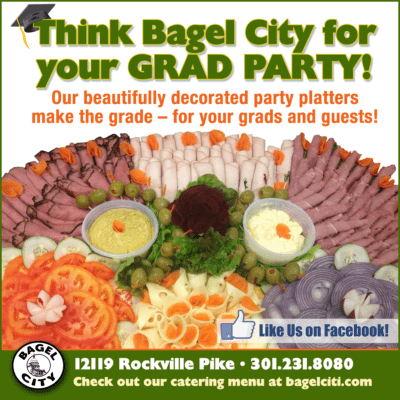 Bagel City party platters: https://www.facebook.com/Bagel-City-1449523538616738/?ct=t%28SR-5-25-17%3A+D&B%2C_Boxes_of_Jewels%2C_Cabin_John%29=&mc_cid=8c7853af96&mc_eid=%5BUNIQID%5D