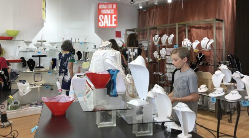 Closeout sale at Leila Fine Gifts & Jewels, Cabin John Shopping Center