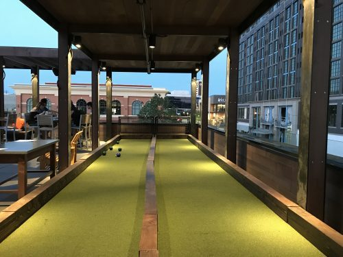 Bocce court at Pinstripes