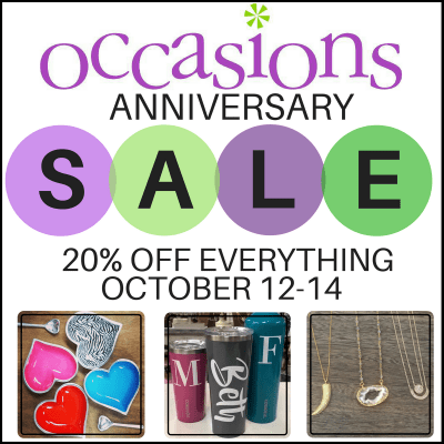 Occasions Anniversary Sale: https://www.occasionsgiftstore.com